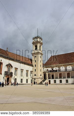 The Clock Tower In The University In Coimbra City, Portugal