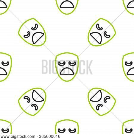 Line Drama Theatrical Mask Icon Isolated Seamless Pattern On White Background. Vector