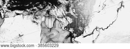 Space Composition. Modern Shape. Alcohol Ink Splash. Black White Space Composition. Creativity Canva