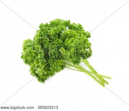 Fresh Green Curly Parsley On White Background, Top View