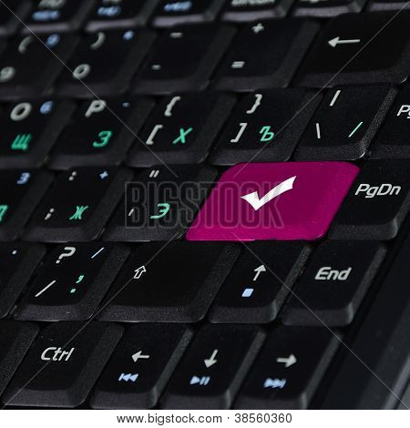 Computer keyboard with search and solution found  symbol