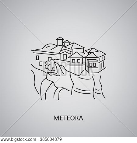 Meteora Icon On Grey Background. Greece, Thessaly. Line Icon