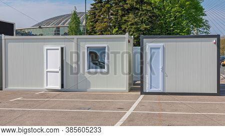 White Cargo Container Converted For Office Or Living