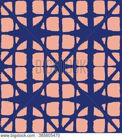 Japanese Tie Dye Seamless Pattern. Geo Arc Curve Print Elegant Kimono Fabric. Retro Shibori Seamless