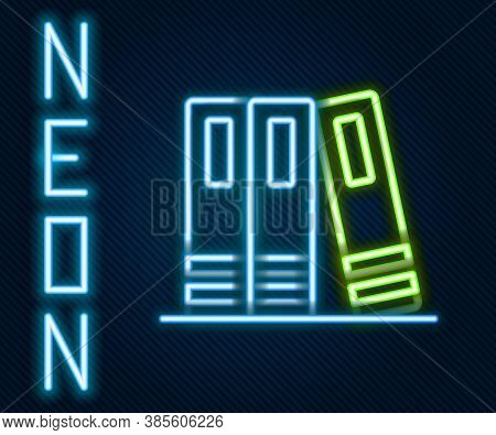 Glowing Neon Line Office Folders With Papers And Documents Icon Isolated On Black Background. Office