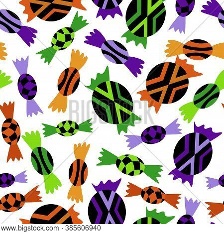 Halloween Sweets Seamless Pattern Stock Vector Illustration. October Holiday Endless Texture With Bl