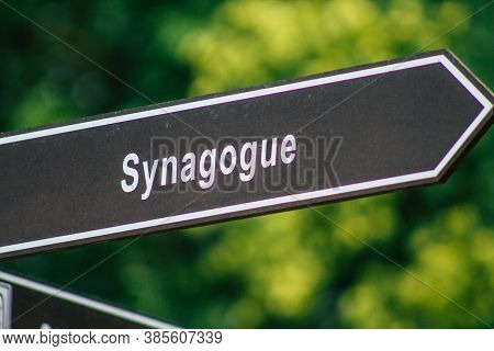 Budapest Hungary July 22, 2020 View Of Street Sign Or Road Sign, Erected At The Side Of Or Above Roa