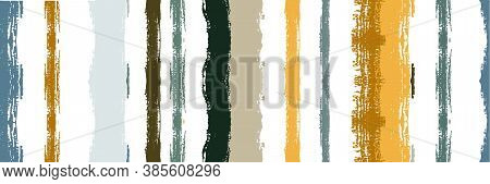 Funky Vertical Stripes Seamless Background. Watercolor Lines Banner. Autumn Winter Modern Fashion Fa