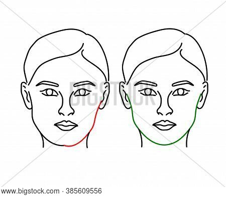 Woman's Face On A White Background. Face And Cheekbone Correction. Vector Illustration.