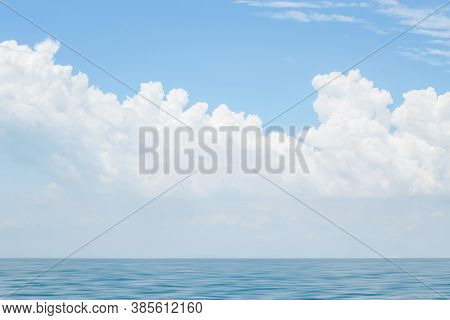 Beautiful Sky With Clouds Over Blue Sea Water, Big Cloud Above Ocean