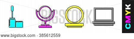 Set Mascara Brush, Round Makeup Mirror, Makeup Powder With Mirror And Makeup Powder With Mirror Icon