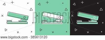 Set Office Stapler Icon Isolated On White And Green, Black Background. Stapler, Staple, Paper, Cardb