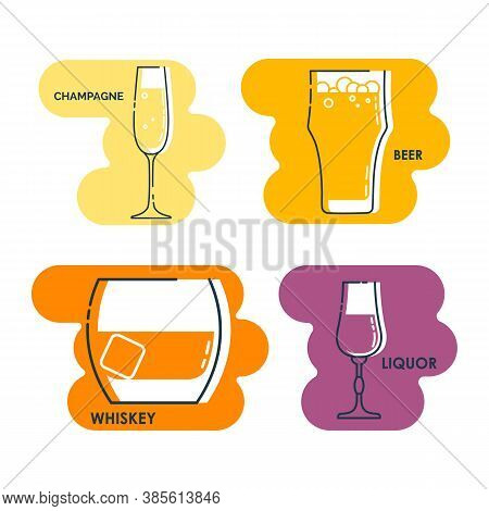 Wineglass Champagne Beer Whiskey Liquor Line Art In Flat Style. Isolated On Colored Shape As Backgro