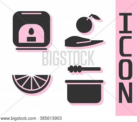 Set Sauna Bucket And Ladle, Aroma Lamp, Citrus Fruit And Apple In Hand Icon. Vector