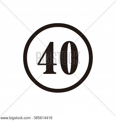Number 40 Icon Vector. Number 40 Icon Isolated On White Background. Number 40 Icon Simple And Modern