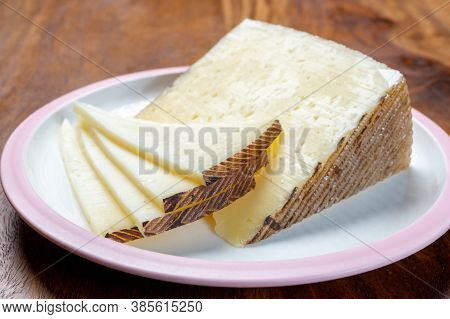 Cheese Collection, Pieces Of Different Sheep Hard Manchego Cheeses Made In La Mancha, Spain Served O