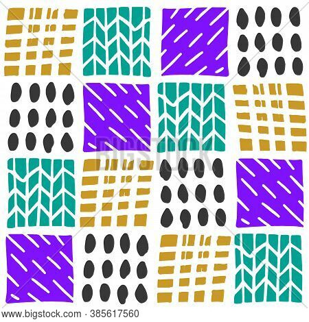 Linocut Vector Elements On White Background. Seamless Vector Linocut Pattern. Linocut Vector Seamles