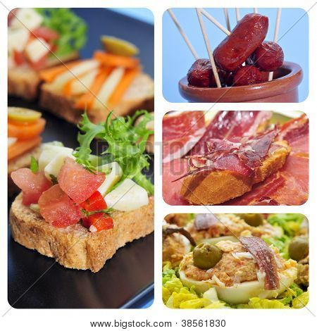 a collage of four pictures of different spanish tapas, as canapes, fried chorizos, pa amb tomaquet and serrano ham or stuffed eggs poster