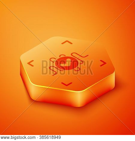 Isometric Voice Recognition Icon Isolated On Orange Background. Voice Biometric Access Authenticatio