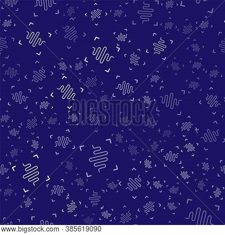 White Voice Recognition Icon Isolated Seamless Pattern On Blue Background. Voice Biometric Access Au