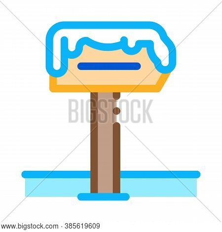 Snowy Nameplate Icon Vector. Snowy Nameplate Sign. Isolated Contour Symbol Illustration