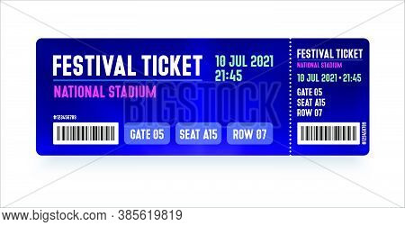 Festival Ticket Template. Modern Style Ticket Design For Entrance. Vector Ticket For Festival, Event