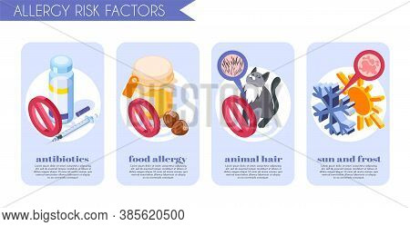 Allergy Symptoms Banners Set With Food Allergy Symbols Isometric Isolated Vector Illustration