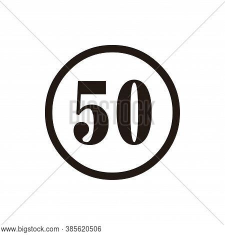 Number 50 Icon Vector. Number 50 Icon Isolated On White Background. Number 50 Simple And Modern.