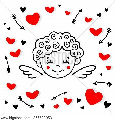 Funny Cupid Among Hearts And Arrows.  Cherub Vector Illustration. Design For Web, Prints, Cards And