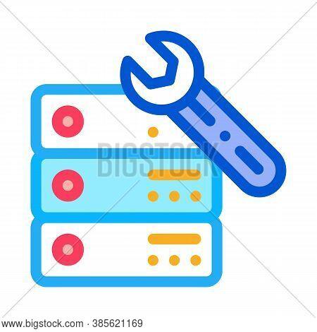 Data Center Server Repair Icon Vector. Data Center Server Repair Sign. Isolated Contour Symbol Illus
