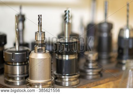 Close-up Scene Of The Solid  End-mill Tools For Cnc Milling Machine .the  Cutting  Tool For Machinin
