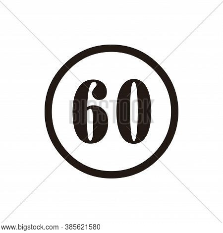 Number 60 Icon Vector. Number 60 Icon Isolated On White Background.  Number 60 Icon Simple And Moder