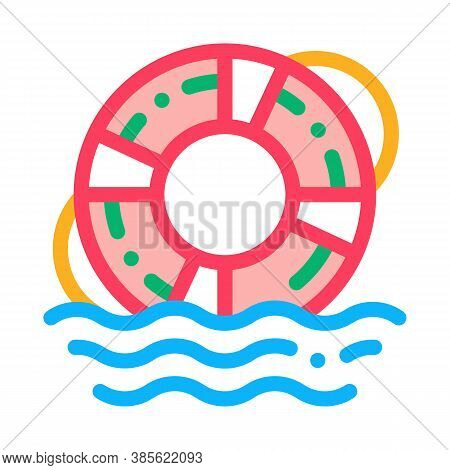 Lifebuoy Rescue Tool Icon Vector. Lifebuoy Rescue Tool Sign. Isolated Contour Symbol Illustration