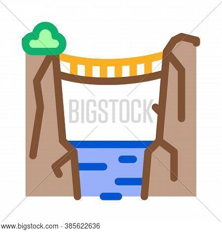 Jungle Bridge Icon Vector. Jungle Bridge Sign. Isolated Contour Symbol Illustration