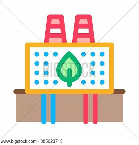 Ecology Clean Factory Icon Vector. Ecology Clean Factory Sign. Isolated Contour Symbol Illustration