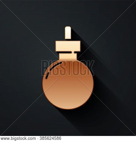 Gold Bomb Ready To Explode Icon Isolated On Black Background. Happy Halloween Party. Long Shadow Sty