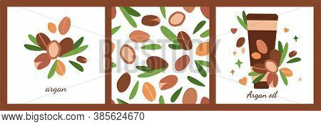 Set Of Three Templates With Tube Of Argan Oil. Seamless Pattern. Argan Berries With Leaves. Modern A