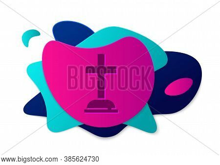 Color Tombstone With Cross Icon Isolated On White Background. Grave Icon. Abstract Banner With Liqui