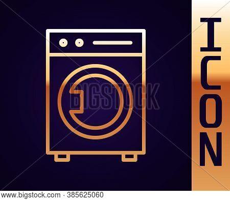 Gold Line Washer Icon Isolated On Black Background. Washing Machine Icon. Clothes Washer - Laundry M