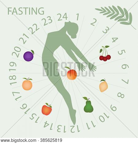 Intermittent Fasting - Dial, Girl, Fruits - Vector. Diet Concept