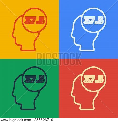 Pop Art Line High Human Body Temperature Or Get Fever Icon Isolated On Color Background. Disease, Co
