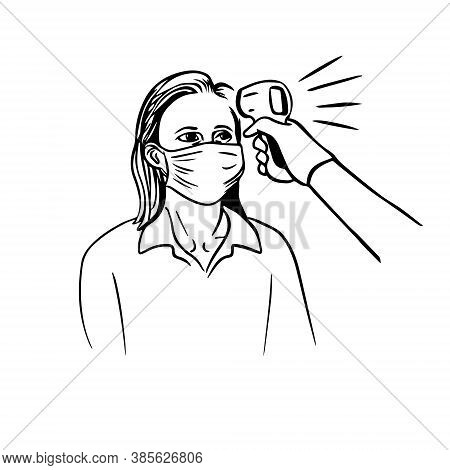 Woman Is Being Checked For Body Temperature With A Thermometer Infrared Vector Illustration