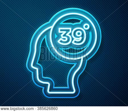 Glowing Neon Line High Human Body Temperature Or Get Fever Icon Isolated On Blue Background. Disease