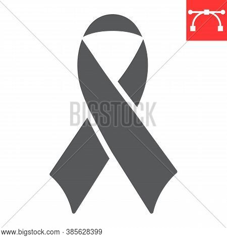 Worlds Aids Day Glyph Icon, Aids And Hiv, Red Ribbon Sign Vector Graphics, Editable Stroke Solid Ico