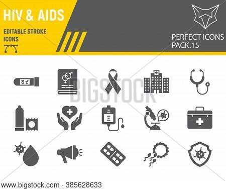 Hiv And Aids Glyph Icon Set, Healthcare Collection, Vector Sketches, Logo Illustrations, Hiv Icons,