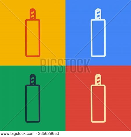 Pop Art Line Detonate Dynamite Bomb Stick Icon Isolated On Color Background. Time Bomb - Explosion D