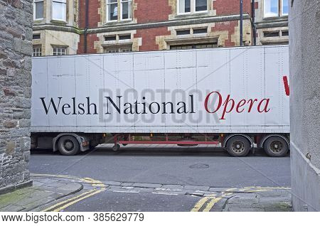 Bristol, Uk - April 11, 2014: A Lorry Carrying Scenery And Costumes For The Welsh National Opera Out