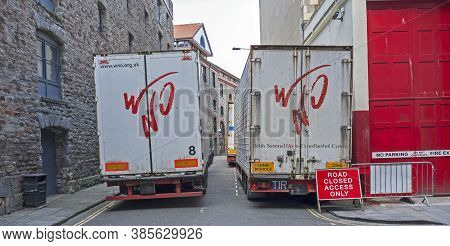 Bristol, Uk - April 11, 2014: Lorries Carrying Scenery And Costumes For The Welsh National Opera Out