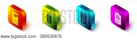 Set Isometric Please Do Not Disturb, Suitcase, Travel Brochure And Passport With Ticket Icon. Vector