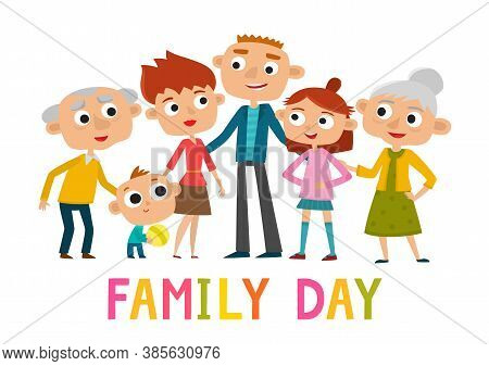 Happy Cartoon Family Stand Isolated On White